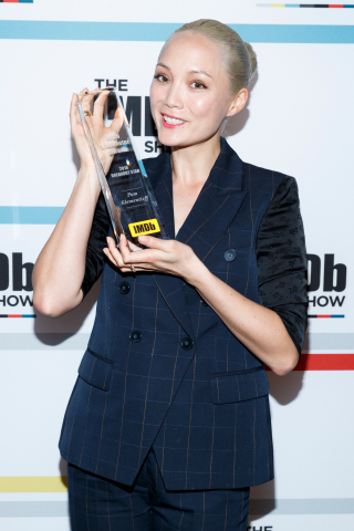 "Pom Klementieff receives the IMDb Fan Favorite STARmeter Award in the Breakout Category on April 23, 2018 on the set of ""The IMDb Show"" in Studio City, CA (Photo: Business Wire)"