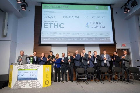 Ether Capital, including CEO Michael Conn and Board Director John Ruffolo, joined Jos Schmitt, President and CEO, NEO Exchange, to open the market and celebrate the launch of Ether Capital on NEO. Ether Capital common shares began trading on NEO on April 19, 2018 under the symbol ETHC. (Photo: Business Wire)