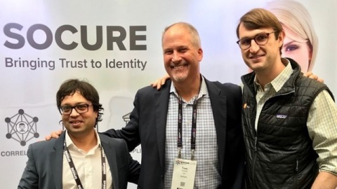 New Socure CEO Tom Thimot (center) joins co-founders Sunil Madhu, Chief Strategy Officer (left) and Johnny Ayers, Senior Vice President (right), to lead company's next phase of expansion. (Photo: Business Wire)