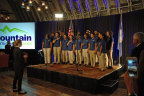 The Mountain Mission School Choir sings the national anthem at the event announcement (Photo: Business Wire)