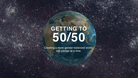 The 50/50 Day tool, Why I Pledge 50/50, features 50 action pledges anyone can take to move the world closer to gender equality in five key areas: politics, economy, identity, culture, and home. (Graphic: Business Wire)