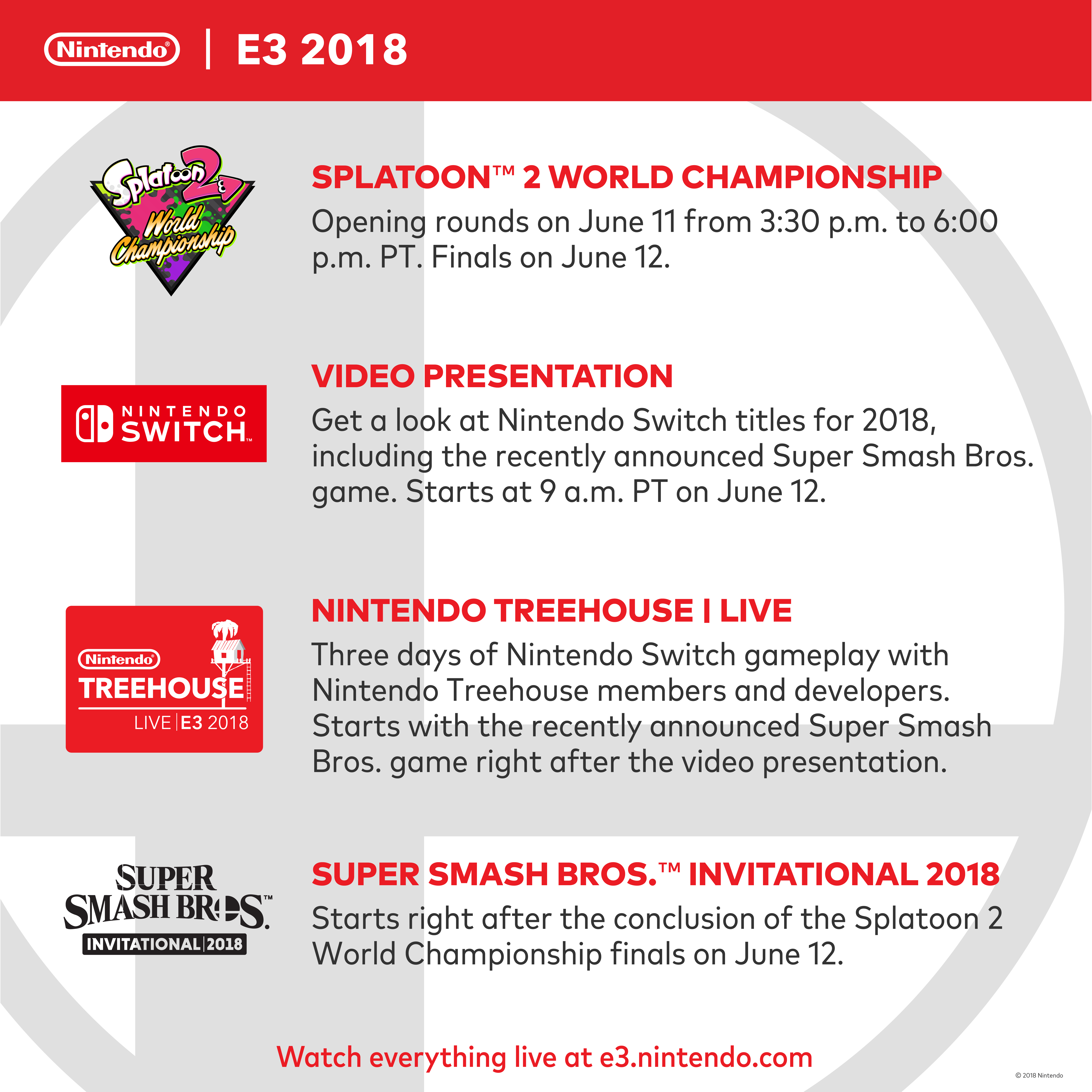 Nintendo Announces E3 2018 Plans and Livestreams; Super Smash Bros