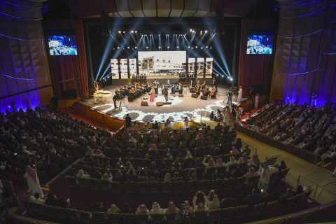 Egypt's National Arab Music Ensemble of the Egyptian Opera House debuted in Saudi Arabia with the singer Nihad Fathy performing before a 2,500-strong audience in Riyadh. This is the first time a woman singer performed on stage in the Kingdom before a mixed crowd. (Photo courtesy of GCA Saudi Arabia.)