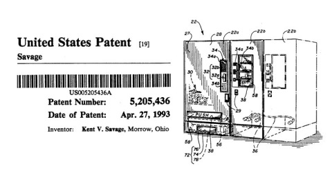 An Industry's Origin: U.S. Patent 5,205,436 was the first industrial vending-related patent. Awarded 25 years ago to founder and CEO of Apex Supply Chain Technologies, Kent Savage, it began the industry known today as self-serve automation. (Graphic: Business Wire)