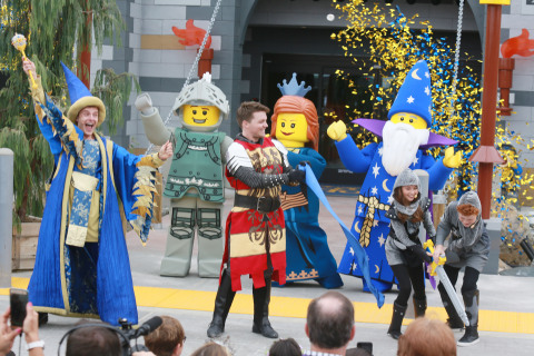 Young knights used a LEGO sword to slice through ribbon officially opening the LEGOLAND® Castle Hotel at LEGOLAND® California Resort. (Photo: Business Wire)