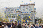 Confetti bursts over a crowd of media and royal guests at the grand opening of LEGOLAND® Castle Hotel. (Photo: Business Wire)