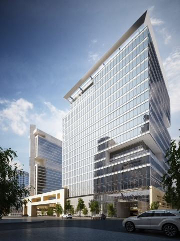 The 615 South College high-rise is adjacent to I-277 in a rapidly developing area of Uptown Charlott ...