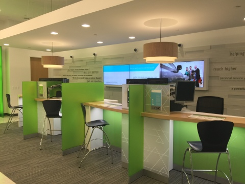 Modern Regions branches have replaced the traditional teller line with a format that allows Regions bankers to personally greet each customer and deliver customized financial advice, guidance and education. (Photo: Business Wire)