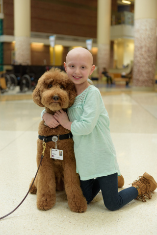 Five-year-old Piper Lyon, a patient at Riley Hospital for Children, cuddles with Quigley, a therapy dog who comforted her throughout her treatment for Burkitt Lymphoma. Today, PetSmart Charities, the leading funder of animal welfare in North America, announced a $175,000 grant to Riley Hospital for Children in Indianapolis to expand and enhance its Pet Therapy Program. (Photo: Business Wire)