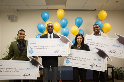 The 2018 winners of Sallie Mae's Bridging the Dream Scholarship for Graduate Students, each of whom received $20,000, left to right: Tevin Ali of Boynton Beach, Florida, Albert Appouh of Maplewood, New Jersey, Noor Hasan, of Skokie, Illinois, and Cody Sain, of Humboldt, Tennessee. (Photo: Business Wire)