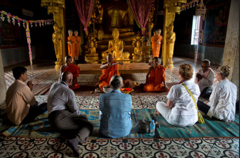 A monk blessing in Cambodia (Photo: Business Wire)