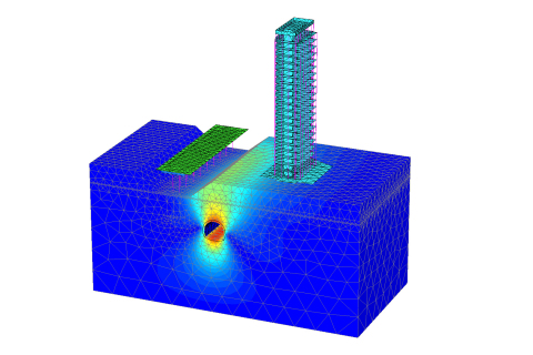 PLAXIS 3D realiza análisis tridimensionales sobre deformación, interacción entre suelo y estructura, ...