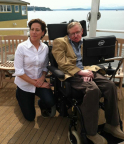 Ellen Lettvin and Stephen Hawking at the Seattle Science Fest (Photo: Business Wire)