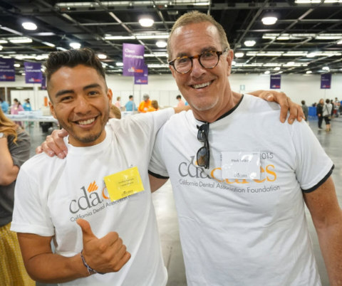 Jonathan Mercado and Mark Wilkins were among the 40 Western Dental volunteers at the recent CDA Cares event in Anaheim. (Photo: Business Wire)