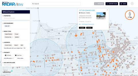 Clear Channel Outdoor RADARView allows advertisers to visually explore its out-of-home media mapped to audience behaviors, demos and location. (Graphic: Business Wire)