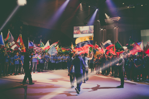 Students from 157 different countries wave their national flags at the opening ceremony of the 2017 FIRST Global Challenge held at DAR Constitution Hall. (Photo: Business Wire)