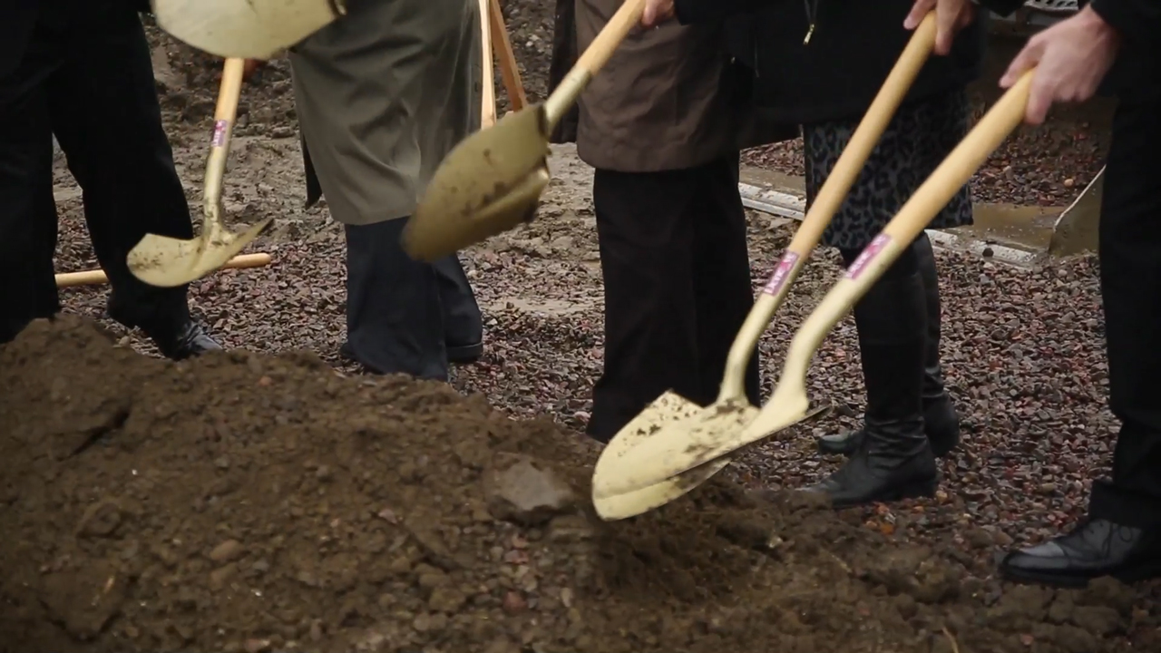 B-Roll of groundbreaking ceremony and aerial view of construction site (Video: Everett McEwan).