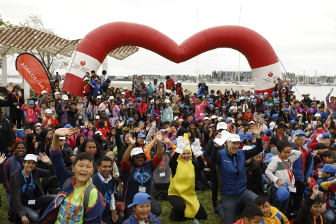 """More than 500 Oakland children celebrate the launch of """"Make Time for Health Program"""" at a health festival in Oakland's Estuary Park on Thursday, May 3, 2018. The program, hosted by Blue Shield of California and the American Heart Association, is a three-year initiative to encourage Oakland elementary students to improve their heart health by focusing on tobacco-free lifestyle, increased physical activity and balanced nutrition. (Photo: Business Wire)"""