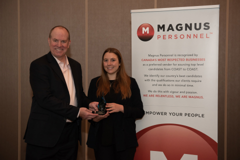 Rob Henderson, President and CEO of BioTalent Canada and Chelsea Lobson, Winner of 2018 MAGNUS Catalyst Award for Top New Hire (photo credit: David Moder)