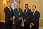 L to R: Dean Andrew Ainslie, Professor Gregory H. Bauer, Srinath Sridharan (Member - Group Management Council - WGC), President Richard Feldman (University of Rochester) after the investiture ceremony for the Rajesh Wadhawan Chair for Development Economics at Simon Business School. (Photo: Business Wire)