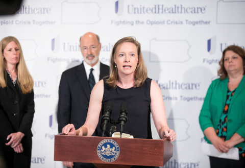 UnitedHealthcare Community Plan of Pennsylvania CEO Allison Davenport announces the donation of 10,000 opioid disposal kits to local care providers in York, Pa. UnitedHealthcare joins Pennsylvania Gov. Tom Wolf and Family First Health at the Byrnes Health Education Center to engage the community to address the deadly epidemic (Photo: Sean Simmers).
