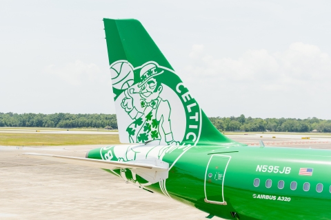 "JetBlue unveils Its first NBA livery, ""Lucky Blue,"" in celebration of Boston Celtics partnership"
