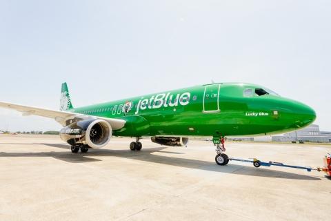 "JetBlue unveils Its first NBA livery, ""Lucky Blue,"" in celebration of Boston Celtics partnership"