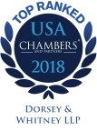 Dorsey & Whitney announced today that 57 of its lawyers and 22 of its practices across nine of its U.S. offices were ranked by Chambers and Partners in its annual survey, Chambers USA: America's Leading Lawyers for Business 2018. (Logo: Dorsey & Whitney)