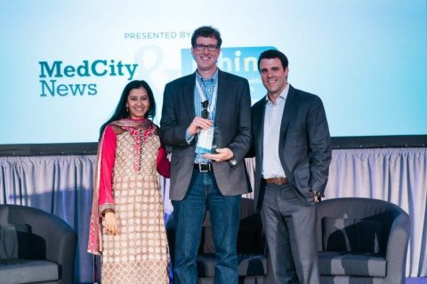 From left: MedCity News Editor in Chief Arundhati Parmar, Ischemia Care CEO Jeff June, and MHIN President David Kereiakes (Photo Courtesy Jack Soltysik)