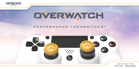 KontrolFreek® announced a new line of Performance Thumbsticks® based on Blizzard Entertainment's award-winning team-based shooter Overwatch®. KontrolFreek Overwatch Performance Thumbsticks are available for PlayStation 4 and Xbox One through KontrolFreek.com and select retailers globally, including GameStop, JBHiFi and Game UK for a manufacturer's suggested retail price of $17.99 USD. (Graphic: Business Wire)