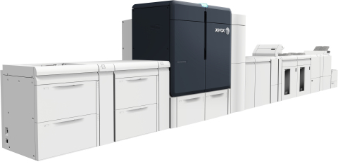 The Xerox Iridesse™ Production Press is a high speed, six station color press that combines four-color printing with up to two specialty dry inks – gold, silver or clear – in one printing pass. (Photo: Busines Wire)