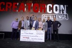 """Last night, ServiceNow announced the winner and runners-up from more than 300 entries to CreatorCon Challenge, a global competition for entrepreneurs to create the most high-impact, intelligent applications on the Now Platform. """"Legends of Tech"""" judges Fred Luddy, Om Malik and BJ Lackland, named first-place winner SalesWon, second place Enable Labs and third place Recruitlive. (From left to right: Om Malik; BJ Lackland; Manish Patel of SalesWon; Jared Crowder of SalesWon; Fred Luddy, founder and chairman of the board, ServiceNow; Avanish Sahai, VP of ISV/technology alliances, ServiceNow; Dominic Phillips, VP of ServiceNow Ventures; and Allan Leinwand, CTO, ServiceNow.) (Photo: Business Wire)"""