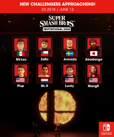 Which of these eight talented players from around the world will emerge victorious in the Super Smash Bros. Invitational 2018 tournament? (Graphic: Business Wire)