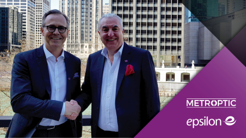 Metro Optic CEO, Michael Bucheit (left) and Epsilon Chief Commercial Officer, Carl Roberts, celebrating their partnership confirmed during ITW, May 6-9 in Chicago. (Photo: Business Wire)