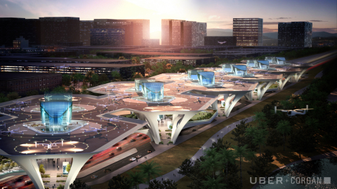 Corgan's design concept for the Uber Mega Skyport system was revealed at the 2018 Uber Elevate Summit. The modular system features a scalable design that can be adapted anywhere for convenient access to UberAIR. (Photo: Business Wire)