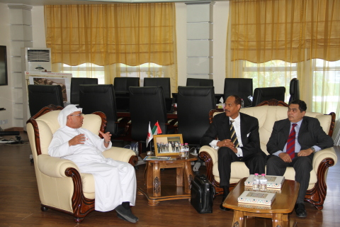 AURAK President, Prof. Hassan Hamdan Al Alkim, and AAAS Special Advisor, Albert B. Jones, discussing the future for the American University of Ras Al Khaimah. (Photo: AETOSWire)