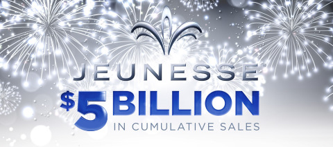Global youth enhancement company Jeunesse reaches a milestone $5 billion in cumulative worldwide sales in its 8th year of business. (Graphic: Business Wire)