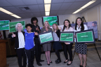 (l-r) Dr. Barbara Ferrer, Angie Arellano, Elijah Gonzalez, Supervisor Kathryn Barger, Lily Larson, Sofia Almada and County CEO Sachi Hamai at today's news conference announcing the #BiggerChoices/Let'sTalkCannabisLACounty campaign to prevent youth from using marijuana. (Photo: Business Wire)