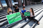 (l-r) Lilly Larson, Elijah Gonzalez, Angie Arellano, and Sofia Almada on the steps of the Los Angeles County hall of administration discussing the Let's Talk Cannabis LA County campaign. (Photo: Business Wire)