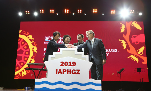 At the closing ceremony of the Conference, Ms. Yuan Yue, the Deputy Director of Guangzhou Port Authority, Mr. Santiago Garcia Milà, President of IAPH, and Dr. Taleh Ziyadov, Director General of Baku International Sea Trade Port CJSC jointly launched the emblem for 2019 China World Ports Conference, symbolizing the official launching for 31st World Port Conference in Guangzhou. (Photo: Business Wire)