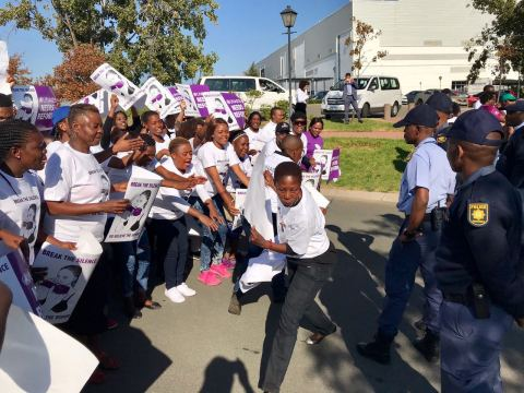 UNAIDS' E.D. Michel Sidibé, who is accustomed to receiving accolades and praise around the world, was met by an angry crowd of over 100 South African women activists on May 9, outside the Pan-African Parliament near Johannesburg. (Photo: Business Wire)