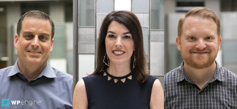 WP Engine promoted the following to its executive leadership team reporting to Chairwoman and CEO Heather Brunner: (left to right) David Brolsma, Chief Financial Officer; Tina Dobie, Chief Customer Officer; and Chad Costello, General Counsel. (Photo: Business Wire)