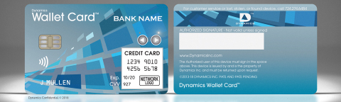 Dynamics Wallet Card Wins FinovateSpring Best of Show. (Photo: Business Wire)