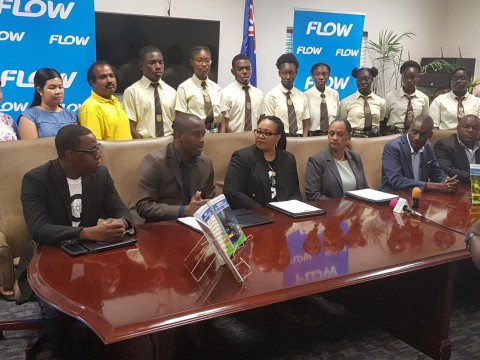 (L to R) Flow TCI Marketing and Communications Executive Darron Hilaire, Ricardo Allen, CEO, One on One Educational Services Ltd.; Delleriece Hall, Country Manager, Flow TCI; Minister of Education, Youth, Culture and Library Services, Hon. Karen Adams-Malcolm; Under Secretary, Ministry of Education, Amin McCartney; and, Edgar Howell, Director of Education, Ministry of Education. (Photo: Business Wire)