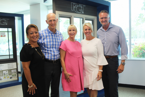 Debbie LaPinska, Gov. Rick Scott, Ann Scott, Danielle Mikesell and Jeff Jackson inside the Venice-based PGT Innovations facility. (Photo: Business Wire)