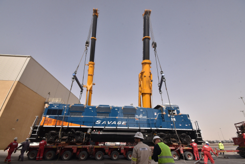One of two Tier-3 compliant, low emissions locomotives owned by Savage Saudi Arabia and delivered from the United States to support Saudi Aramco operations in the Jubail area. (Photo: Business Wire)