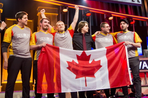 The team from Laval University, the Rouge et Au, celebrate their Heroes of the Dorm National Champio ...