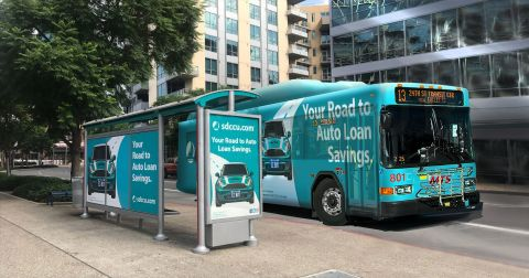 San Diego's Metropolitan Transit System began its Clear Channel Outdoor partnership with bus shelters. It recently added 550+ buses and 150+ trolleys. (Photo: Business Wire)