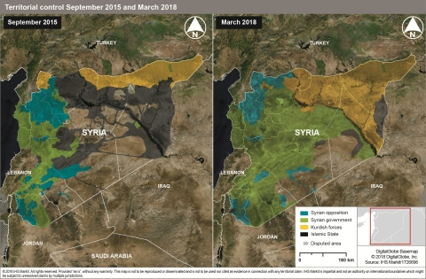 Syria territorial control September 2015 - March 2018 (Photo: Business Wire)