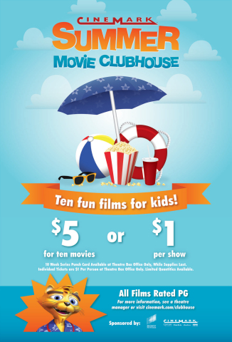 The Summer Movie Clubhouse is a ten-week program of recently released G and PG films for kids. The cost is $1 per person per movie at the door the morning of the program. A ten-week series punch card is available at the theatre box office, while supplies last, at participating theatres. (Photo: Business Wire)